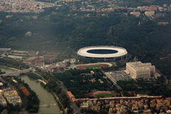 Aerial view of Rome. Olympic stadium Royalty Free Stock Photography