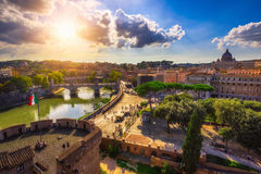 Aerial view of Rome, St Peter basilica and river Tiber. Italy royalty free stock images