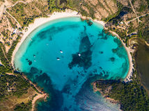 Aerial  view  of Rondinara beach in Corsica Island in France Royalty Free Stock Photos