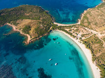 Aerial  view  of Rondinara beach in Corsica Island in France Stock Photography