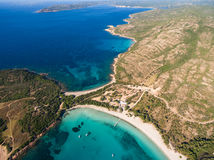 Aerial  view  of Rondinara beach in Corsica Island in France Stock Photo