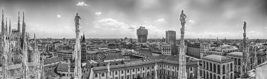 Aerial view from the roof of the Cathedral, Milan, Italy Royalty Free Stock Image