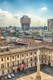 Aerial view from the roof of the Cathedral, Milan, Italy Royalty Free Stock Photos