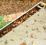 Aerial view of a roof top gutter clogging with leaves Royalty Free Stock Photography