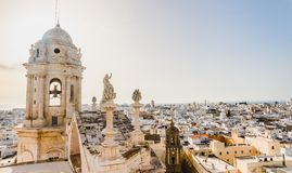 The view of the roofs of Cadiz, Spain, from the belfry of its Cathedral royalty free stock photos