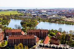 Aerial View on Roofs and Canals of Copenhagen Stock Image