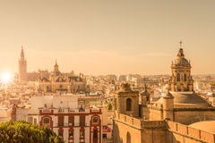 Aerial view of the roofs and the cathedral of Seville, Spain stock photo