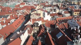 Aerial view Roofs and Houses og Prague - Czech stock video