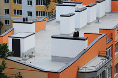 Aerial view at roofs modern office buildings.  Royalty Free Stock Photo