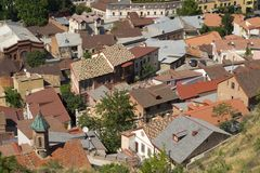 Aerial view of the roofs of Tbilisi old town Royalty Free Stock Image