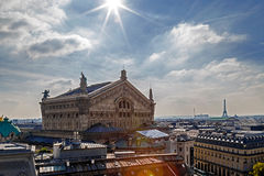 Aerial view with rooftop in Paris. Opera Garnier building Stock Photography