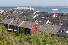 Aerial view rooftops at German Helgoland island. Aerial view rooftops at Helgoland island, Germany royalty free stock photography