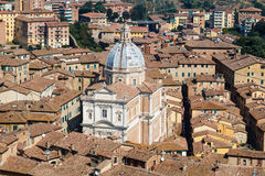 Aerial View on Rooftops and Houses of Siena Stock Image