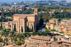 Aerial View on Rooftops and Houses of Siena Royalty Free Stock Image