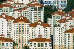 Aerial view of rooftops patterns at Tanjong Rhu housing area of Singapore. Stock Photography