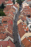 Aerial view of the rooftops of Radiceva Street in Zagreb, Croatia Royalty Free Stock Photo