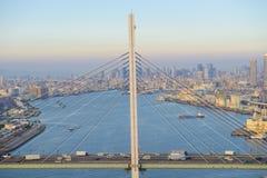Aerial view of rope bridge Stock Image