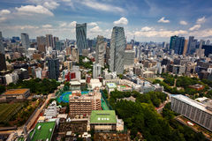 Aerial View of Roppongi District of Minato from Tokyo Tower, Tok. TOKYO, JAPAN - JUNE 10: View at modern skyscrapers in Roppongi district in Minato, Tokyo at Royalty Free Stock Images