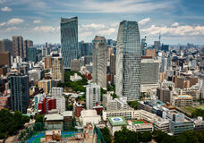 Aerial View of Roppongi District of Minato from Tokyo Tower, Tok. TOKYO, JAPAN - JUNE 10: View at modern skyscrapers in Roppongi district in Minato, Tokyo at Stock Image