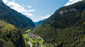 Aerial view in the canton Grisons in Switzerland. Aerial view of the Rossa valley in the canton Grisons in Switzerland Royalty Free Stock Images