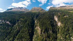 Aerial view in the canton Grisons in Switzerland. Aerial view of the Rossa valley in the canton Grisons in Switzerland Royalty Free Stock Image