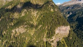 Aerial view in the canton Grisons in Switzerland. Aerial view of the Rossa valley in the canton Grisons in Switzerland Royalty Free Stock Photo