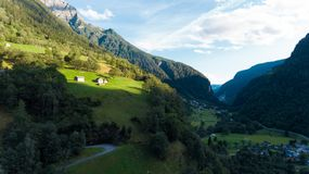 Aerial view in the canton Grisons in Switzerland. Aerial view of the Rossa valley in the canton Grisons in Switzerland Stock Photography