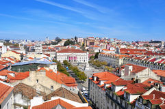 Aerial view of Rossio Square in Lisbon, Portugal Royalty Free Stock Photos