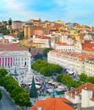 Rossio square overview. Lisbon, Portugal Royalty Free Stock Photos