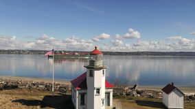 Maury Island Point Robinson Lighthouse Puget Sound Vashon Island stock video footage