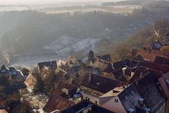 Aerial view of Rothenburg ob der Tauber historic town downtown royalty free stock image