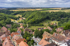 Aerial view of Rothenburg ob der Tauber Royalty Free Stock Photo