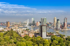 Aerial view of Rotterdam. Aerial view of the modern city center of Rotterdam Royalty Free Stock Images