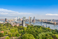 Aerial view of Rotterdam. Aerial view of the modern city center of Rotterdam Royalty Free Stock Photo