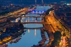 Aerial view on Rouen at night Stock Photography