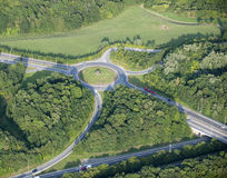 Aerial View : Roundabout in the countryside. Crossing roads Stock Photos