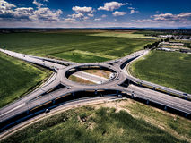 Aerial view of a Roundabout near Ploiesti Romania. Aerial shot with a drone Royalty Free Stock Photography