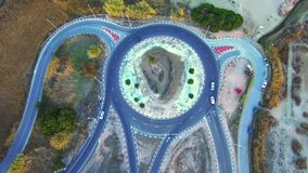 Aerial view roundabout stock footage