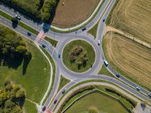 Aerial view of a roundabout and vehicle circulation. Parks and outdoor Royalty Free Stock Image