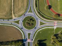 Aerial view of a roundabout and vehicle circulation. Parks and outdoor Royalty Free Stock Photography