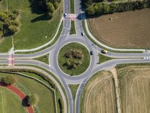 Aerial view of a roundabout and vehicle circulation. Parks and outdoor Royalty Free Stock Images