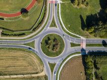 Aerial view of a roundabout and vehicle circulation. Parks and outdoor Stock Photo