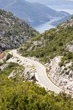 Aerial view on route to Risan. Montenegro Royalty Free Stock Image