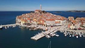Aerial view of Rovinj, Croatia. Flight over harbor and old town Rovinj, Istria, Croatia stock footage