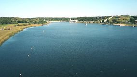 Aerial view of rowing tracks in Poznan, Poland stock video