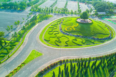 Aerial view of Royal Park Rajapruek roundabout with beautiful gr Stock Images