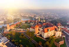 Free Aerial View Royal Wawel Castle And Gothic Cathedral In Cracow, Poland, With Renaissance Sigismund Chapel With Golden Stock Image - 125932331