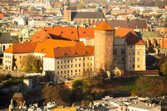Aerial view of Royal Wawel castle in Krakow, Poland. Travel. Royalty Free Stock Images