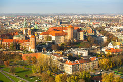 Aerial view of Royal Wawel castle with park. Royalty Free Stock Photo