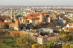 Aerial view of Royal Wawel castle with park. Stock Images